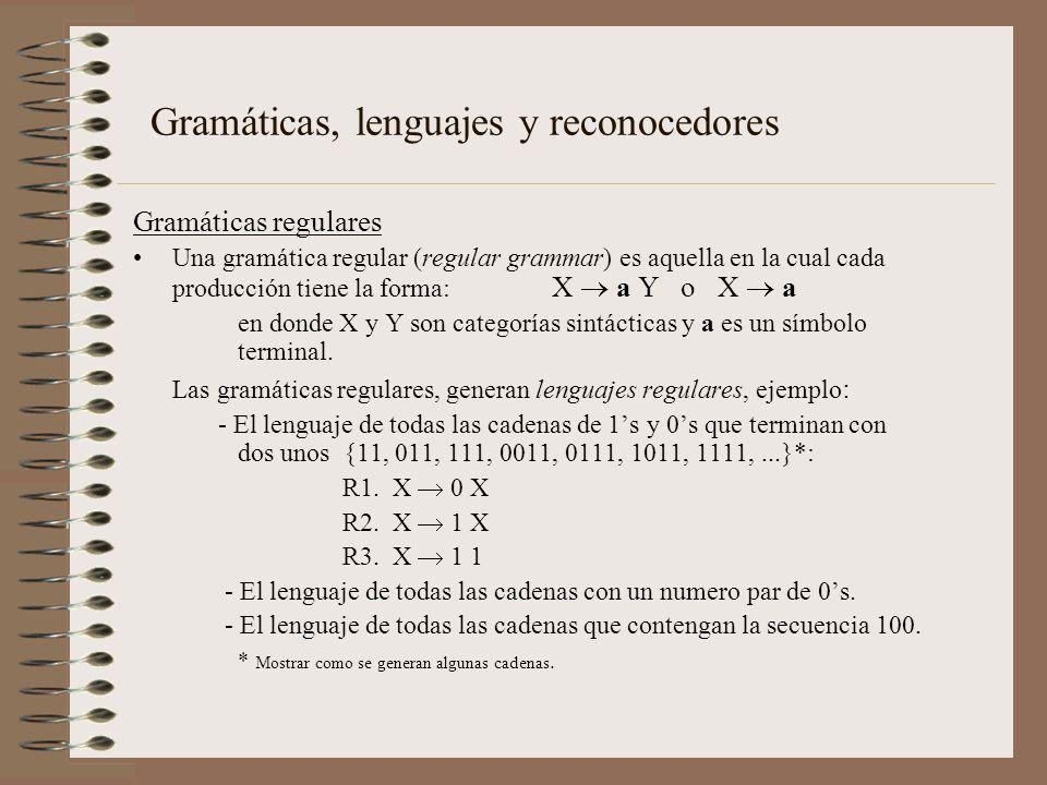 Gramáticas regulares Una gramática regular (regular grammar) es aquella en la cual cada producción tiene la forma: X a Y o X a en donde X y Y son cate