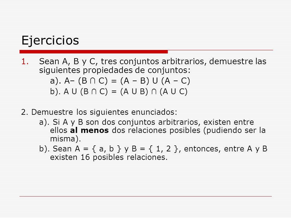 Ejercicios 1.Sean A, B y C, tres conjuntos arbitrarios, demuestre las siguientes propiedades de conjuntos: a). A– (B C) = (A – B) U (A – C) b). A U (B
