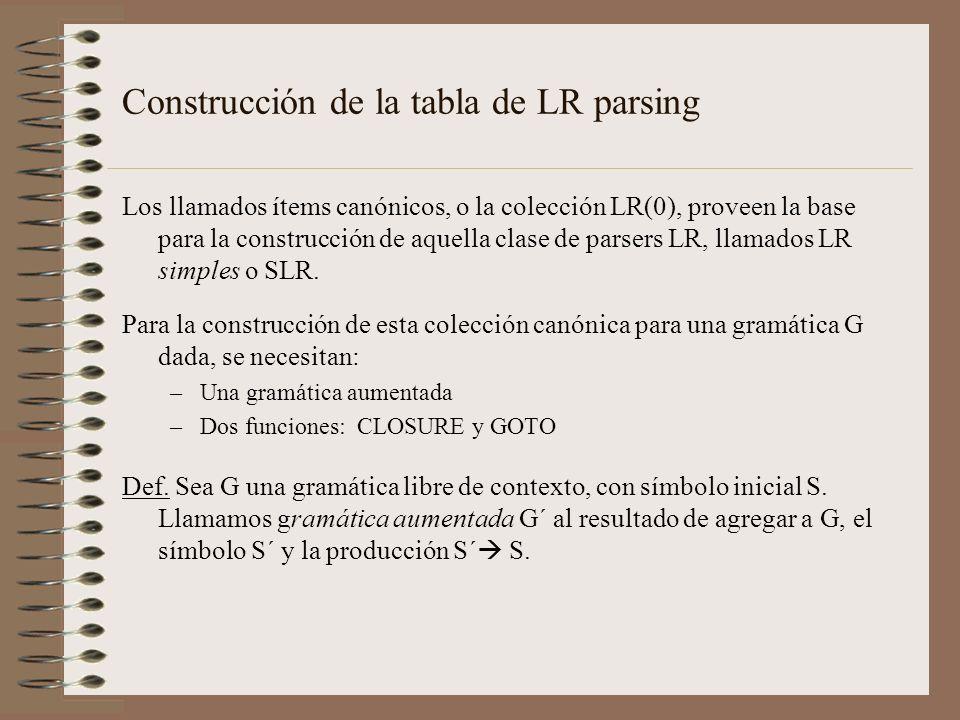 Construcción de la tabla de LR parsing Los llamados ítems canónicos, o la colección LR(0), proveen la base para la construcción de aquella clase de pa
