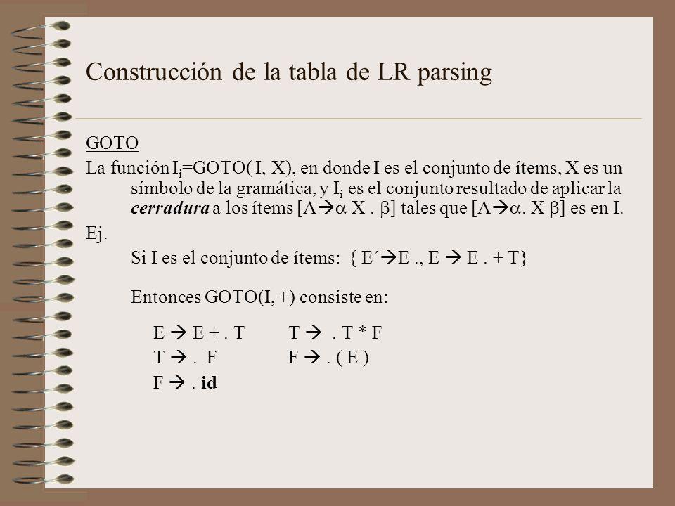 Construcción de la tabla de LR parsing GOTO La función I i =GOTO( I, X), en donde I es el conjunto de ítems, X es un símbolo de la gramática, y I i es