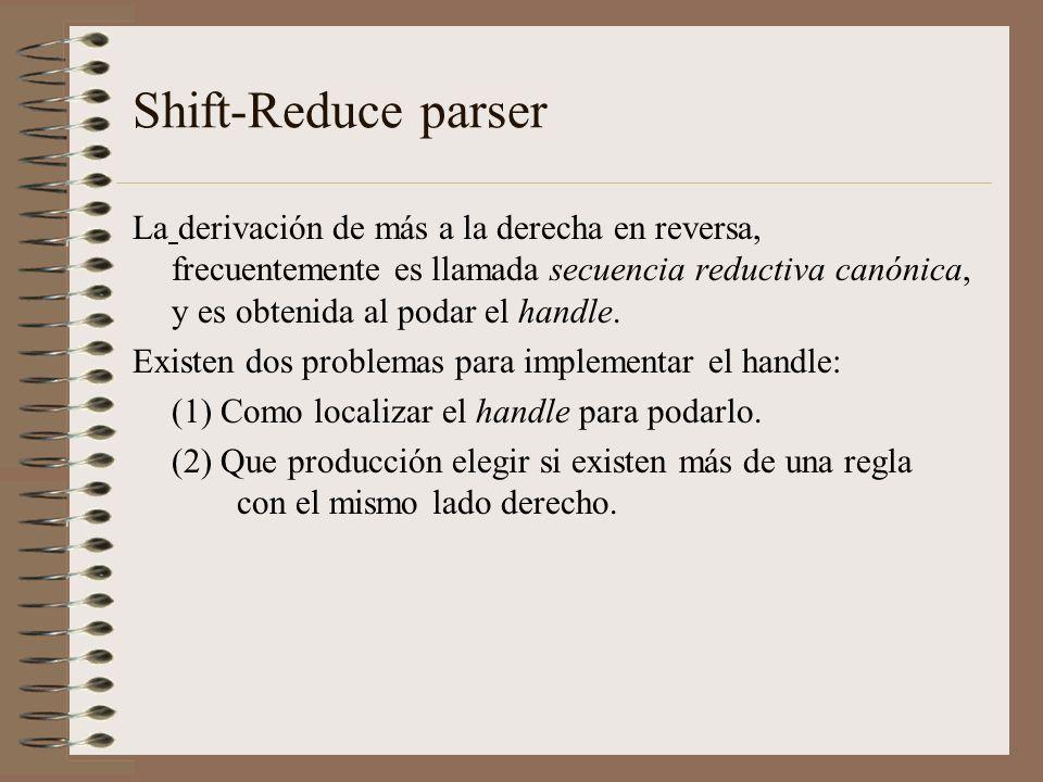 Shift-Reduce parser La derivación de más a la derecha en reversa, frecuentemente es llamada secuencia reductiva canónica, y es obtenida al podar el ha