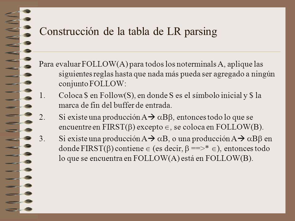 Construcción de la tabla de LR parsing Para evaluar FOLLOW(A) para todos los noterminals A, aplique las siguientes reglas hasta que nada más pueda ser