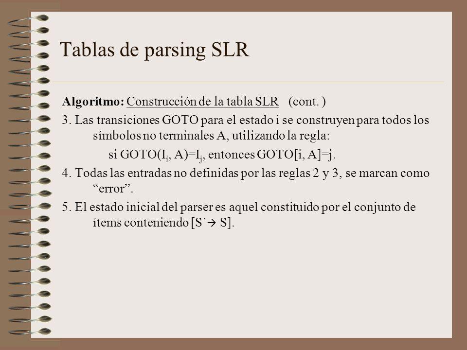 Tablas de parsing SLR Algoritmo: Construcción de la tabla SLR (cont. ) 3. Las transiciones GOTO para el estado i se construyen para todos los símbolos