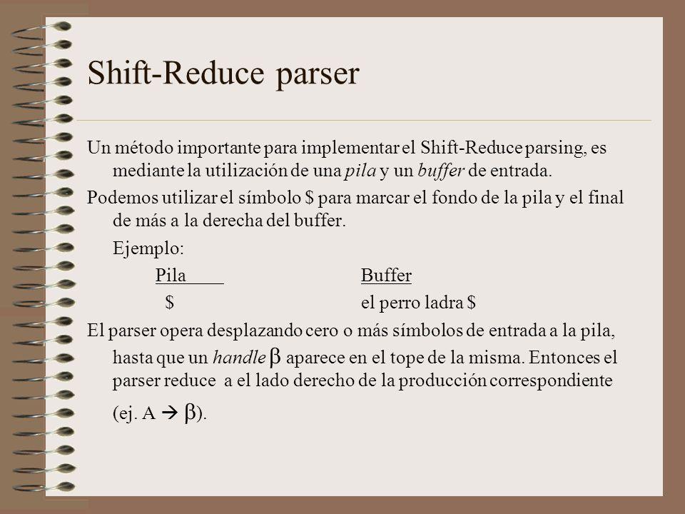 Shift-Reduce parser Un método importante para implementar el Shift-Reduce parsing, es mediante la utilización de una pila y un buffer de entrada. Pode