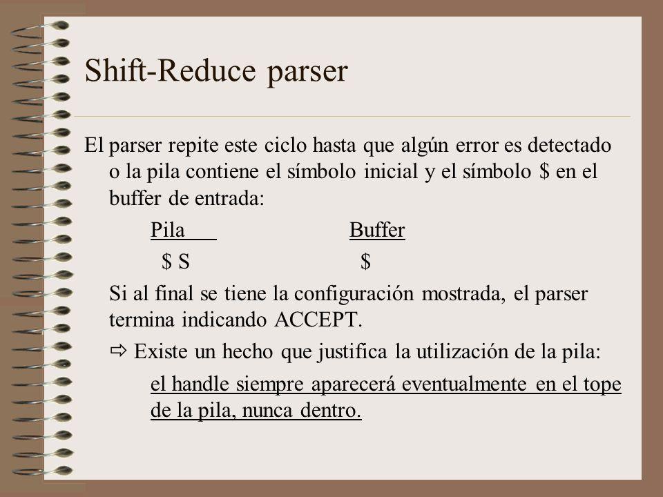 Shift-Reduce parser El parser repite este ciclo hasta que algún error es detectado o la pila contiene el símbolo inicial y el símbolo $ en el buffer d