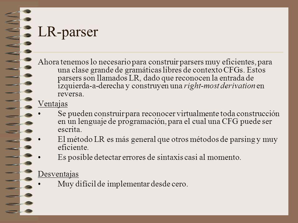 LR-parser Ahora tenemos lo necesario para construir parsers muy eficientes, para una clase grande de gramáticas libres de contexto CFGs. Estos parsers