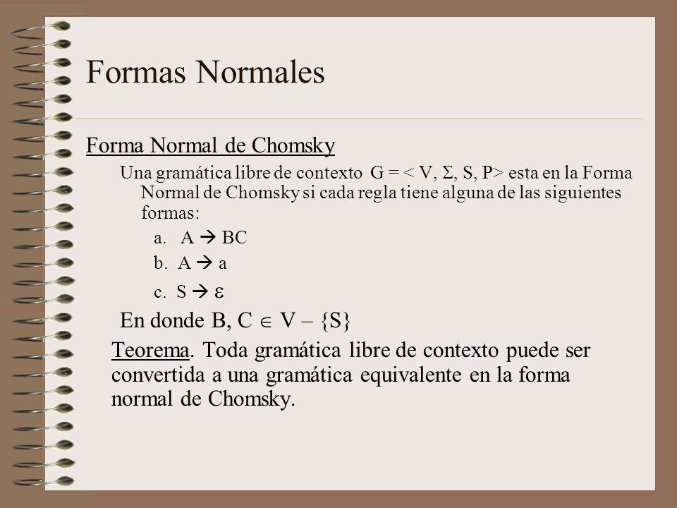 Formas Normales Forma Normal de Chomsky Una gramática libre de contexto G = esta en la Forma Normal de Chomsky si cada regla tiene alguna de las sigui