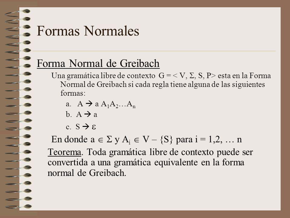 Formas Normales Forma Normal de Greibach Una gramática libre de contexto G = esta en la Forma Normal de Greibach si cada regla tiene alguna de las sig
