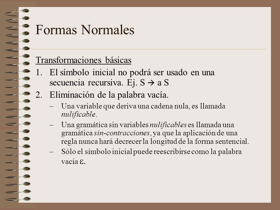 Formas Normales Transformaciones básicas 1.El símbolo inicial no podrá ser usado en una secuencia recursiva. Ej. S a S 2.Eliminación de la palabra vac