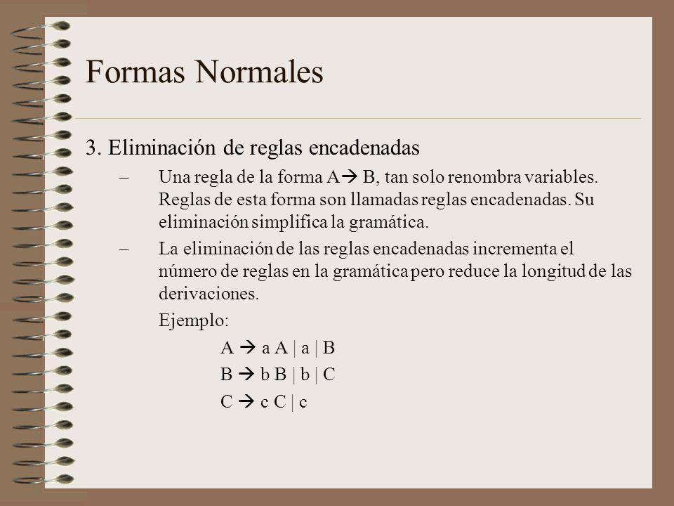 Formas Normales 3. Eliminación de reglas encadenadas –Una regla de la forma A B, tan solo renombra variables. Reglas de esta forma son llamadas reglas