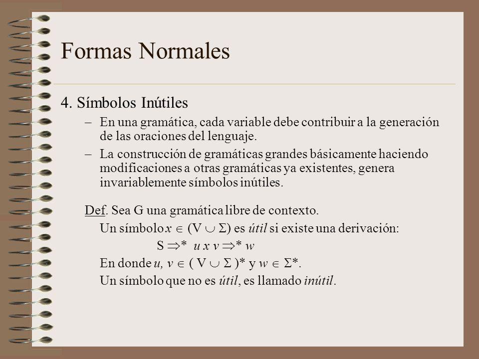 Formas Normales 4. Símbolos Inútiles –En una gramática, cada variable debe contribuir a la generación de las oraciones del lenguaje. –La construcción