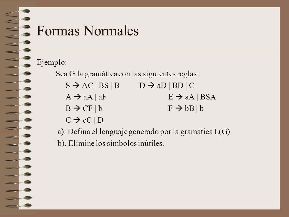 Formas Normales Ejemplo: Sea G la gramática con las siguientes reglas: S AC | BS | B D aD | BD | C A aA | aF E aA | BSA B CF | b F bB | b C cC | D a).