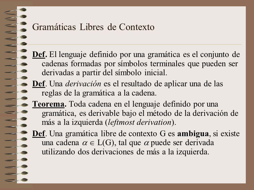 Def. El lenguaje definido por una gramática es el conjunto de cadenas formadas por símbolos terminales que pueden ser derivadas a partir del símbolo i