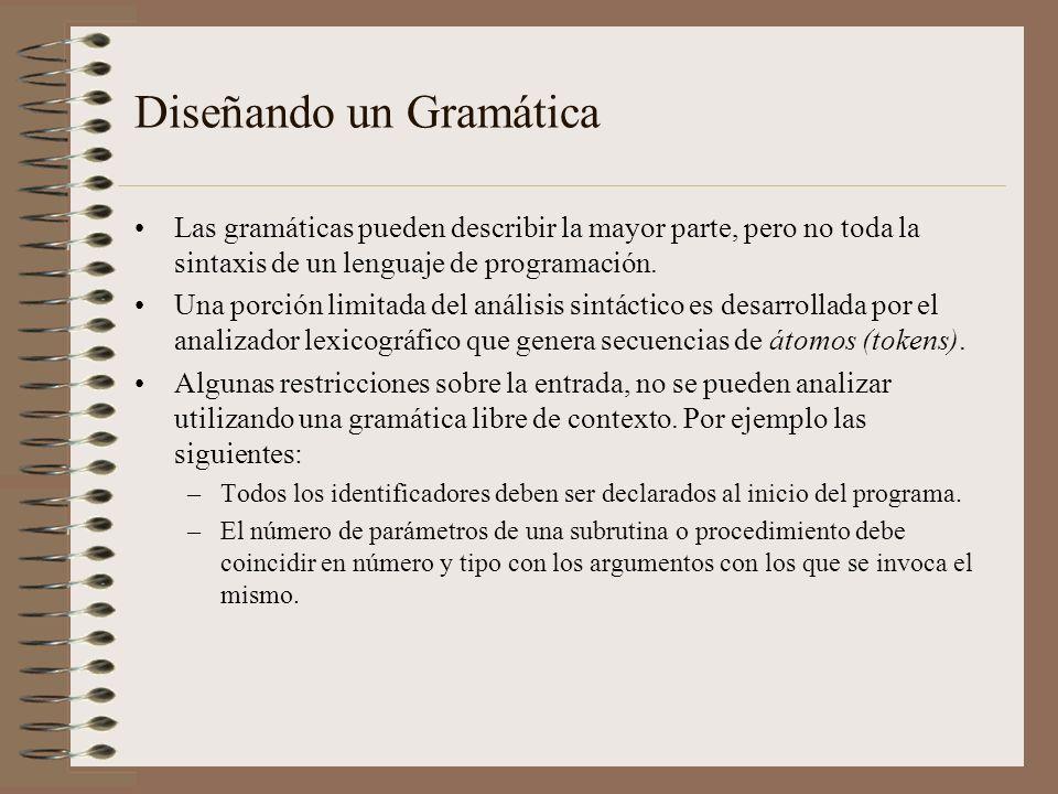 Diseñando un Gramática Las gramáticas pueden describir la mayor parte, pero no toda la sintaxis de un lenguaje de programación. Una porción limitada d