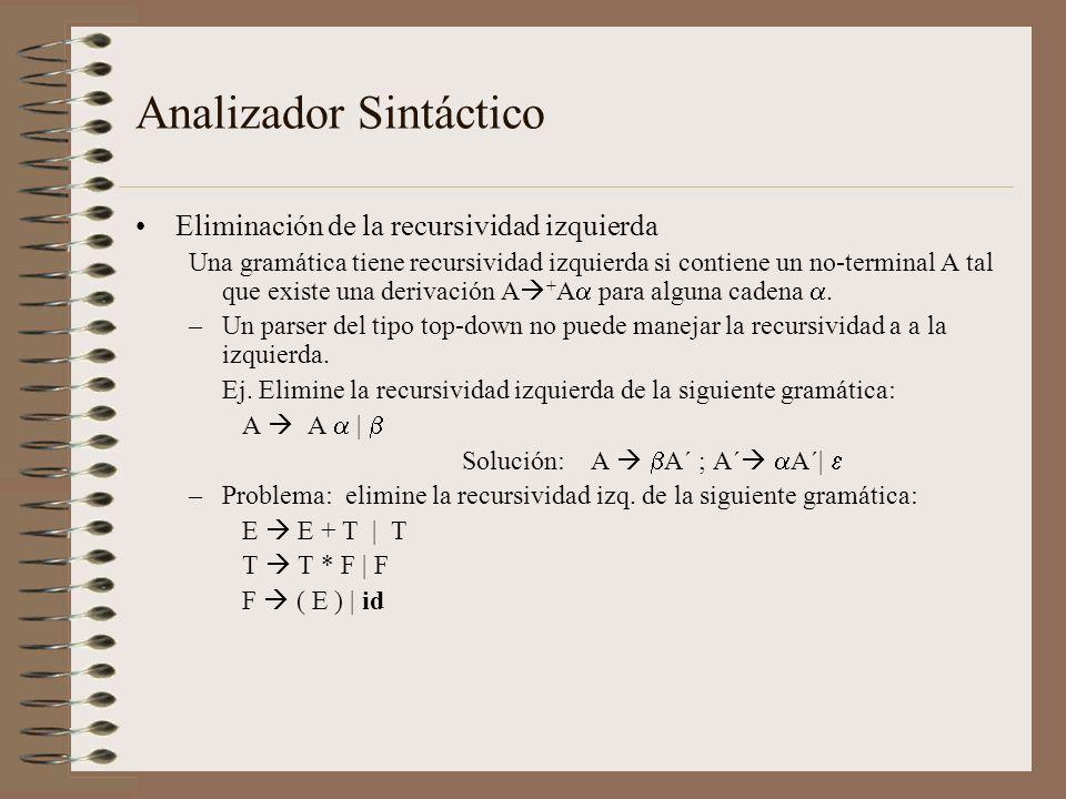 Eliminación de la recursividad izquierda Una gramática tiene recursividad izquierda si contiene un no-terminal A tal que existe una derivación A + A p