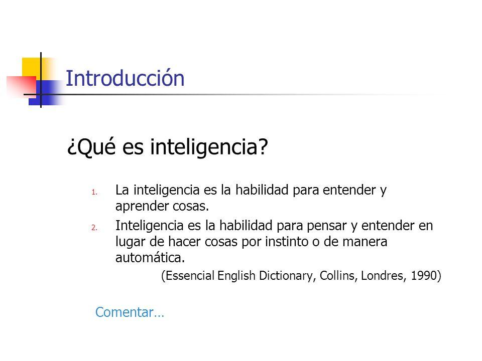 ¿Qué es inteligencia? 1. La inteligencia es la habilidad para entender y aprender cosas. 2. Inteligencia es la habilidad para pensar y entender en lug