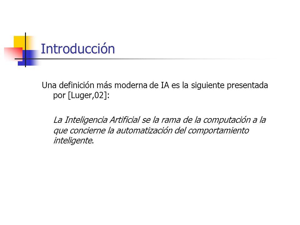 Una definición más moderna de IA es la siguiente presentada por [Luger,02]: La Inteligencia Artificial se la rama de la computación a la que concierne