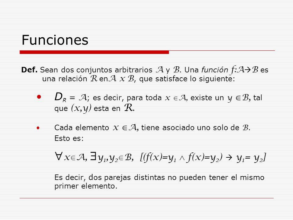 Funciones Def. Sean dos conjuntos arbitrarios A y B. Una función f:A B es una relación R en A x B, que satisface lo siguiente: D R = A ; es decir, par