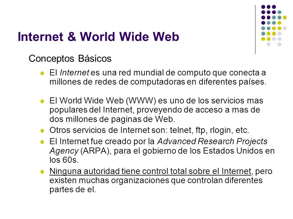 Internet & World Wide Web Conceptos Básicos El Internet es una red mundial de computo que conecta a millones de redes de computadoras en diferentes pa