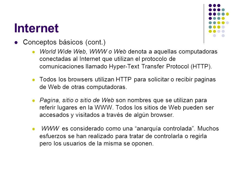 Internet Conceptos básicos (cont.) World Wide Web, WWW o Web denota a aquellas computadoras conectadas al Internet que utilizan el protocolo de comuni