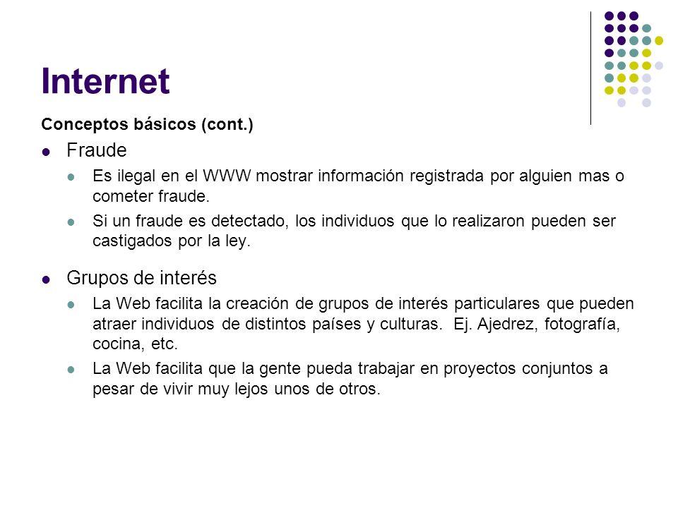 Internet Conceptos básicos (cont.) Fraude Es ilegal en el WWW mostrar información registrada por alguien mas o cometer fraude. Si un fraude es detecta