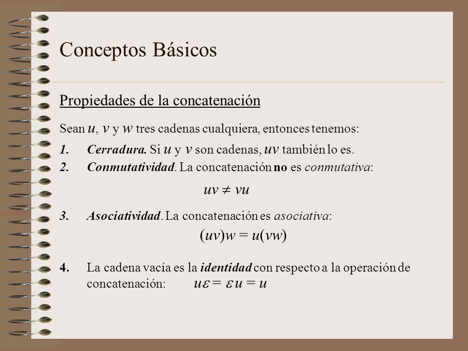 Conceptos Básicos Propiedades de la concatenación Sean u, v y w tres cadenas cualquiera, entonces tenemos: 1.Cerradura. Si u y v son cadenas, uv tambi