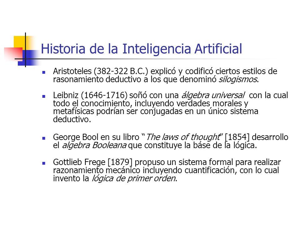 Historia de la Inteligencia Artificial Aristoteles (382-322 B.C.) explicó y codificó ciertos estilos de rasonamiento deductivo a los que denominó silo