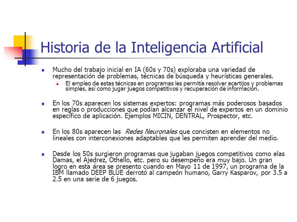 Mucho del trabajo inicial en IA (60s y 70s) exploraba una variedad de representación de problemas, técnicas de búsqueda y heurísticas generales. El em