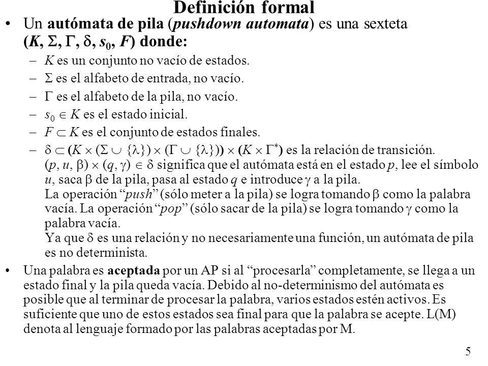 5 Definición formal Un autómata de pila (pushdown automata) es una sexteta (K,,,, s 0, F) donde: –K es un conjunto no vacío de estados. – es el alfabe