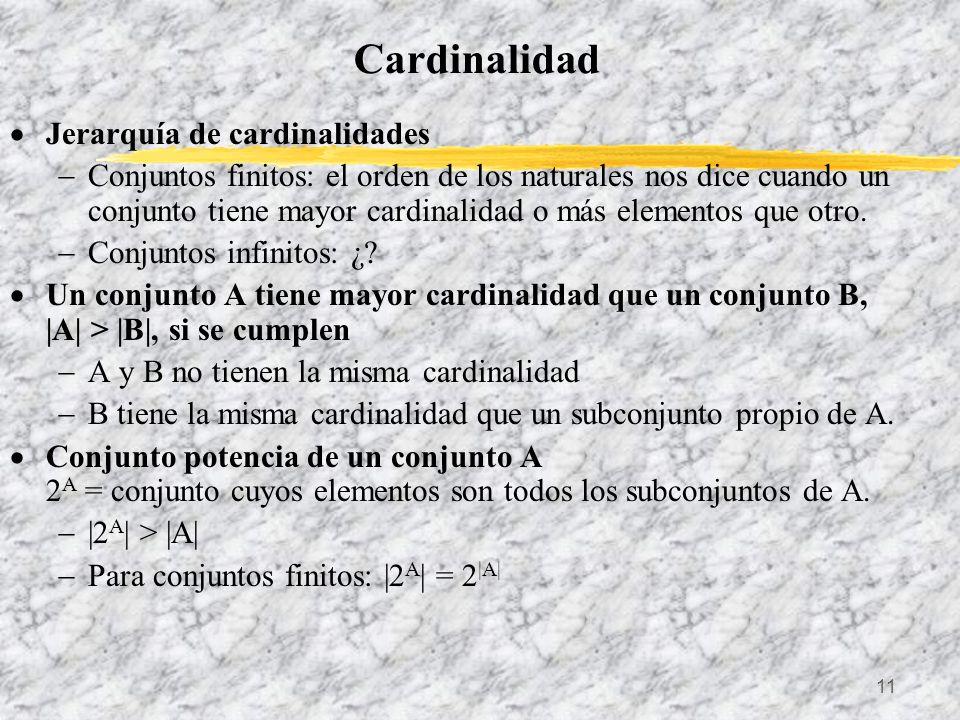 11 Cardinalidad Jerarquía de cardinalidades Conjuntos finitos: el orden de los naturales nos dice cuando un conjunto tiene mayor cardinalidad o más el