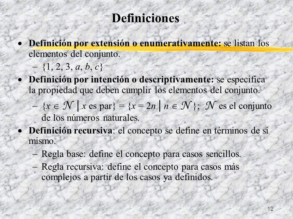 12 Definiciones Definición por extensión o enumerativamente: se listan los elementos del conjunto. {1, 2, 3, a, b, c} Definición por intención o descr