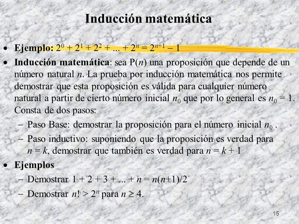 15 Inducción matemática Ejemplo: 2 0 + 2 1 + 2 2 +... + 2 n = 2 n+1 1 Inducción matemática: sea P(n) una proposición que depende de un número natural