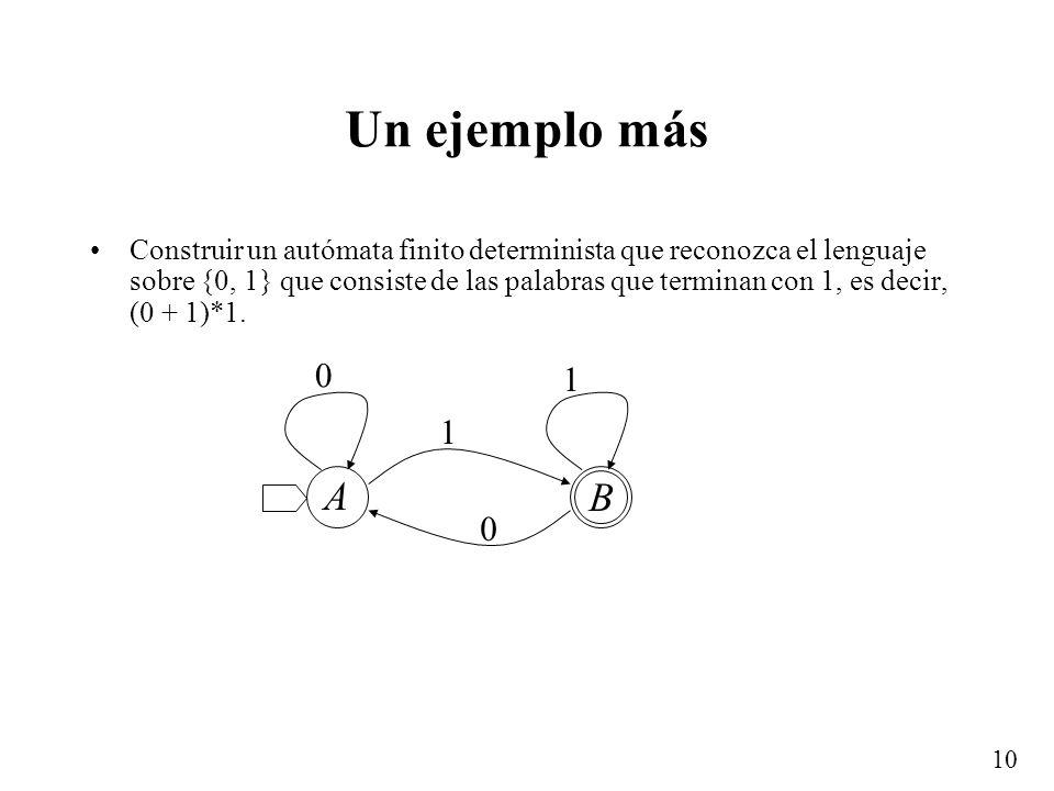 10 Un ejemplo más Construir un autómata finito determinista que reconozca el lenguaje sobre {0, 1} que consiste de las palabras que terminan con 1, es