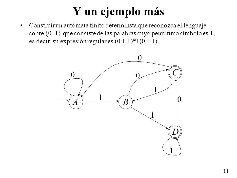 11 Y un ejemplo más Construir un autómata finito determinsta que reconozca el lenguaje sobre {0, 1} que consiste de las palabras cuyo penúltimo símbol