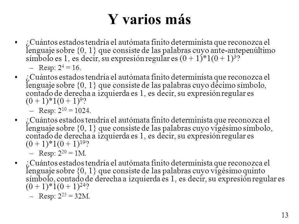 13 Y varios más ¿Cuántos estados tendría el autómata finito determinista que reconozca el lenguaje sobre {0, 1} que consiste de las palabras cuyo ante