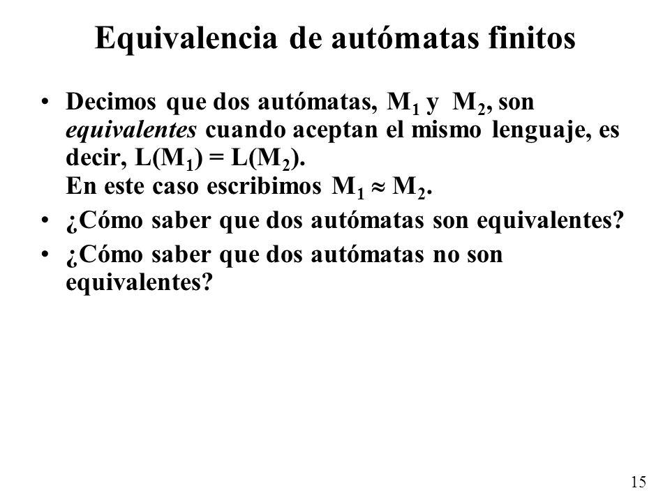 15 Equivalencia de autómatas finitos Decimos que dos autómatas, M 1 y M 2, son equivalentes cuando aceptan el mismo lenguaje, es decir, L(M 1 ) = L(M