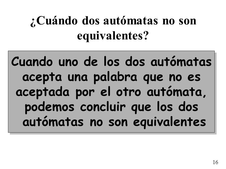 16 ¿Cuándo dos autómatas no son equivalentes? Cuando uno de los dos autómatas acepta una palabra que no es aceptada por el otro autómata, podemos conc