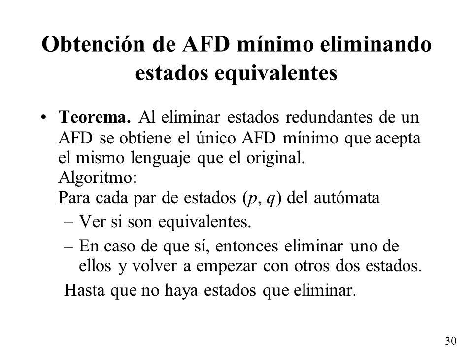 30 Obtención de AFD mínimo eliminando estados equivalentes Teorema. Al eliminar estados redundantes de un AFD se obtiene el único AFD mínimo que acept