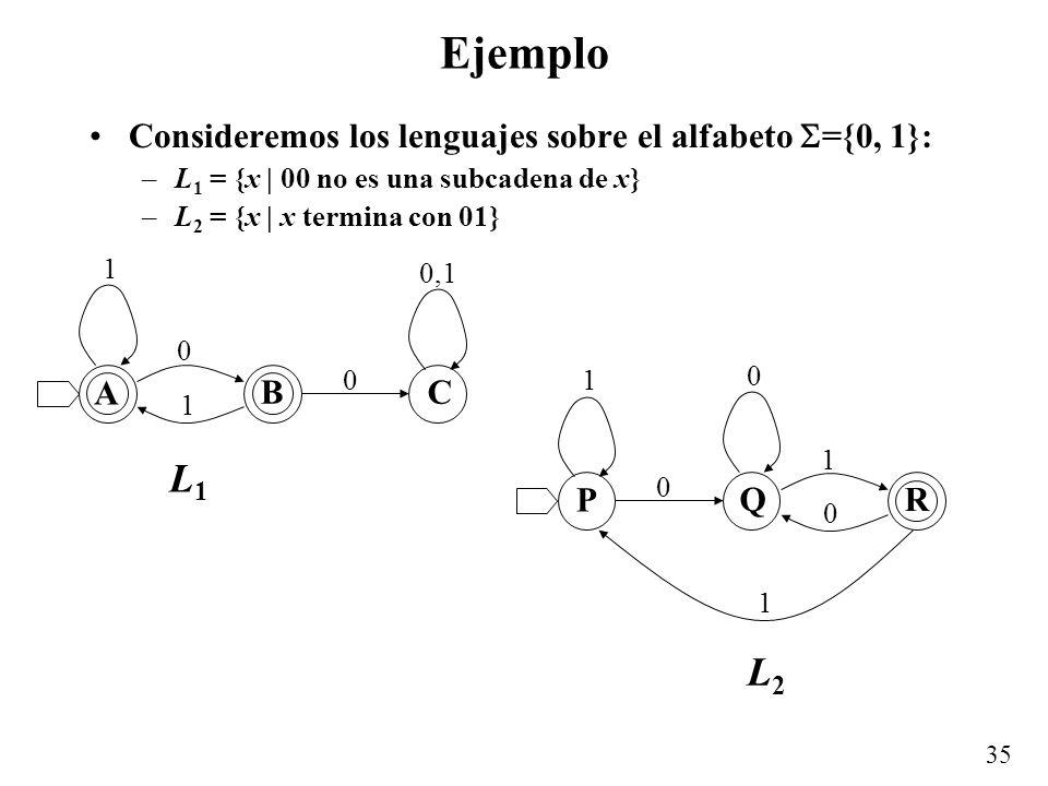 35 Ejemplo Consideremos los lenguajes sobre el alfabeto ={0, 1}: –L 1 = {x | 00 no es una subcadena de x} –L 2 = {x | x termina con 01} A BC 0 0 1 1 0