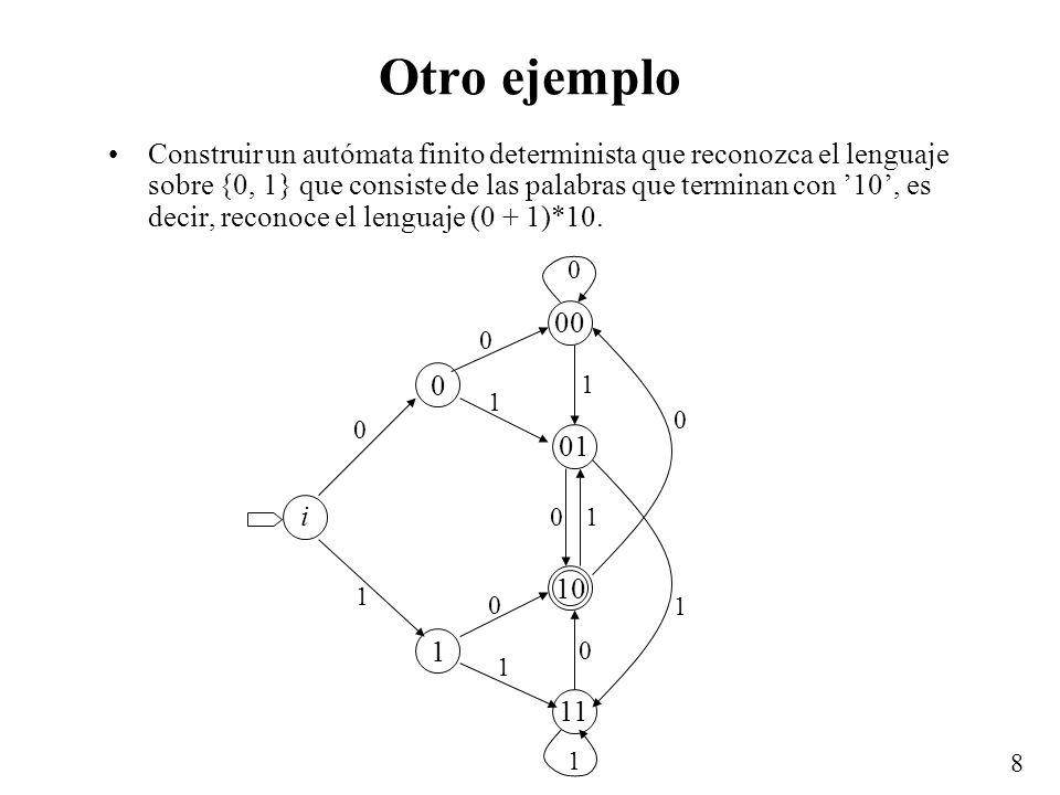 8 Otro ejemplo Construir un autómata finito determinista que reconozca el lenguaje sobre {0, 1} que consiste de las palabras que terminan con 10, es d