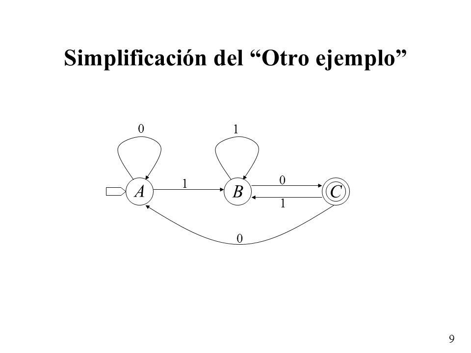 9 Simplificación del Otro ejemplo 0 1 1 0 1 0 A BC