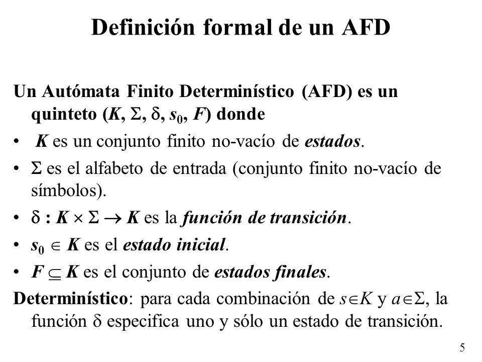 6 Notación gráfica Estado inicial: > Estado final: Transiciones: a > q0q0 q1q1 q2q2 a a b b a b