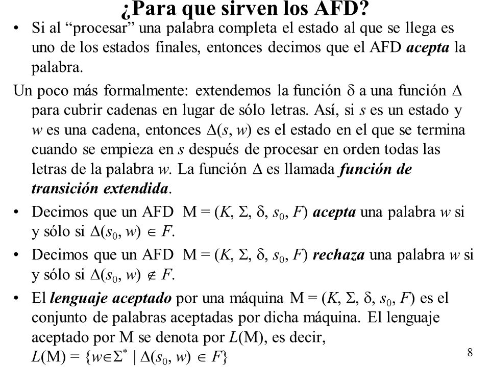 9 Ejemplo q0q0 q1q1 1 1 0 0 Este AFD acepta palabras con un número impar de 1s