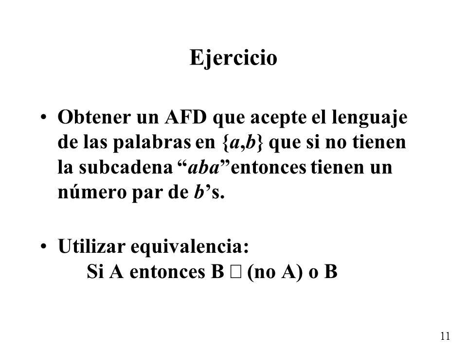 11 Ejercicio Obtener un AFD que acepte el lenguaje de las palabras en {a,b} que si no tienen la subcadena abaentonces tienen un número par de bs.