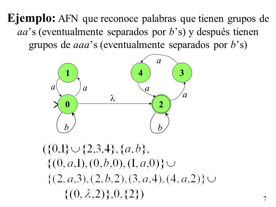 7 Ejemplo: AFN que reconoce palabras que tienen grupos de aas (eventualmente separados por bs) y después tienen grupos de aaas (eventualmente separados por bs) 1 b a a 0 2 34 b a a a