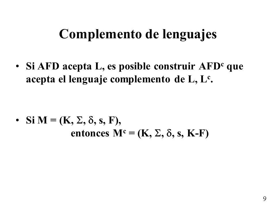 9 Complemento de lenguajes Si AFD acepta L, es posible construir AFD c que acepta el lenguaje complemento de L, L c.