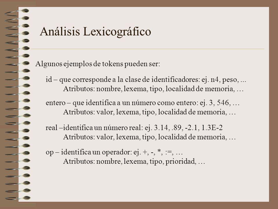 Análisis Lexicográfico Algunos ejemplos de tokens pueden ser: id – que corresponde a la clase de identificadores: ej. n4, peso,... Atributos: nombre,
