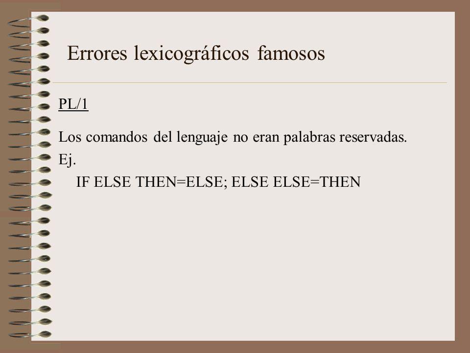 PL/1 Los comandos del lenguaje no eran palabras reservadas. Ej. IF ELSE THEN=ELSE; ELSE ELSE=THEN Errores lexicográficos famosos