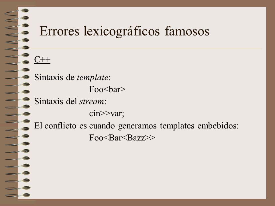 C++ Sintaxis de template: Foo Sintaxis del stream: cin>>var; El conflicto es cuando generamos templates embebidos: Foo > Errores lexicográficos famoso