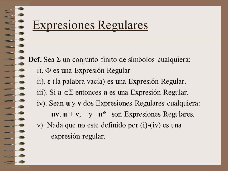 Def. Sea un conjunto finito de símbolos cualquiera: i). es una Expresión Regular ii). (la palabra vacía) es una Expresión Regular. iii). Si a entonces